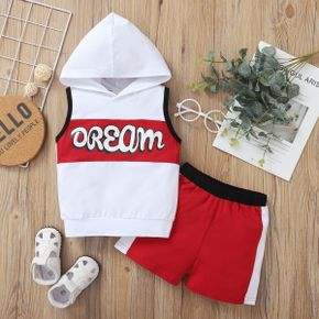 2-piece Baby / Toddler Boy Sleeveless Letter Hoodies and Sporty Shorts Set