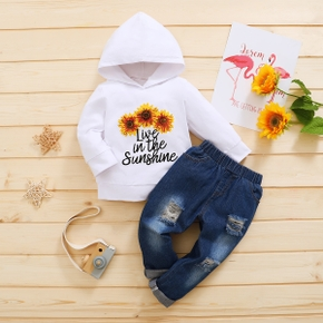 2-piece Baby / Toddler Sunflower Letter Hooded Pullover and Denim Pants Set