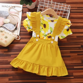 2-piece Baby/Toddler Girl Sunflower Ruffled Top and Yellow Strap Dress