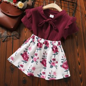 Toddler Girl Bowknot Top and Floral Skirt Set