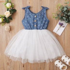 Toddler Girl Bowknot Suspender Print Mesh Dress