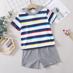 Trendy Kid Boy Stripes Hoodie Shorts Casual Suits