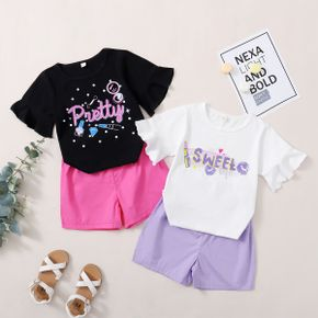 Pretty Kid Girl Flounced Colorful Cosmetic Letter Print Casual Suits