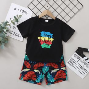 Fashionable Kid Boy Short-sleeve Letter & Leaf Print Shorts Suits