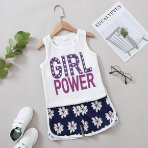 Fashionable Kid Girl Letter Floral Tank Shorts Suits