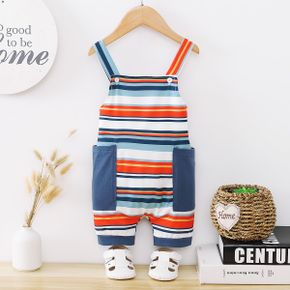 Stripes Print Color Contrast Baby Overalls