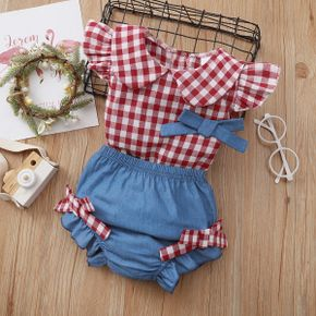 2pcs Baby Girl Plaid Flutter-sleeve Cotton Summer Spring Top Solid Shorts Baby Sets