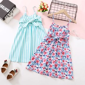 Stylish Kid Girl Sleeveless Stripe Floral Print Dress