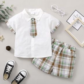 2-piece Toddler Boy Preppy style Plaid Shirt and Shorts Set