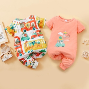 Vehicle Print Short-sleeve Baby Jumpsuit