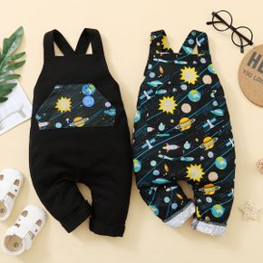 Universe and Planet Print Baby Overalls Jumpsuit