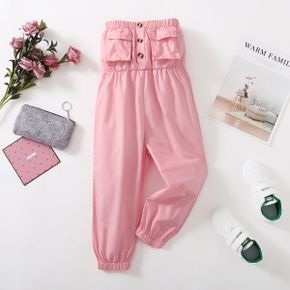 Toddler Girl Ruffled Button Design Strapless Pink Jumpsuit with Pocket