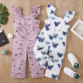Toddler Girl Floral Butterfly Print Jumpsuit