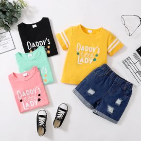 2-piece Toddler Girl Letter Cutie Tee and Denim Hole Shorts Set