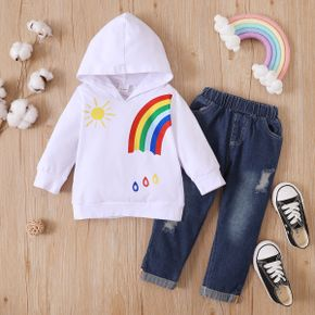 2-piece Baby / Toddler Rainbow Hooded Three-quarter Sleeves Pullover and Denim Pants Set