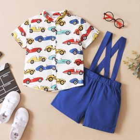2-piece Toddler Boy Car Print Button Down Short-sleeve Shirt and Solid Suspender Shorts Set