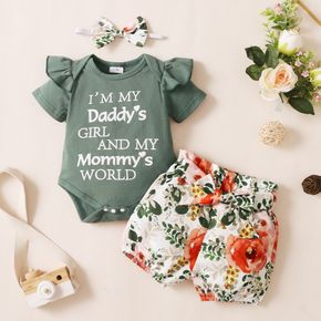 2pcs Letter and Floral Print Short-sleeve Baby Set