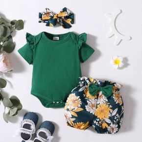 3pcs Solid and Floral Short-sleeve Baby Set