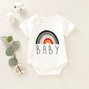 Rainbow and Letter Print Short-sleeve White Baby Romper