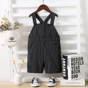 Toddler Boy 100% Cotton Striped Button Design Overalls with Pocket
