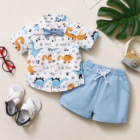 2-piece Toddler Boy Dinosaur Print Short-sleeve Shirt with Bow tie and Elasticized Solid Blue 100% Cotton Shorts Set