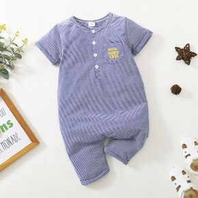 Toddler Boy Letter Striped Casual Jumpsuit