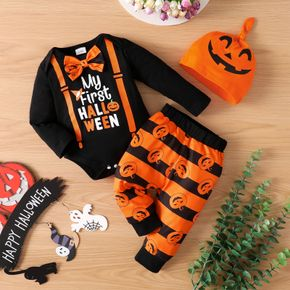Baby 3pcs Halloween Letter and Pumpkin Bow Tie Long-sleeve Romper Set