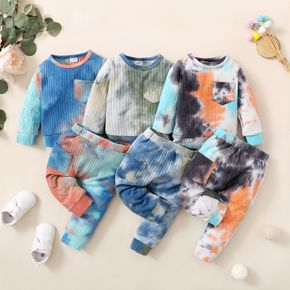 Baby 2pcs Cotton Tie Dye Ribbed Long-sleeve Pullover Set