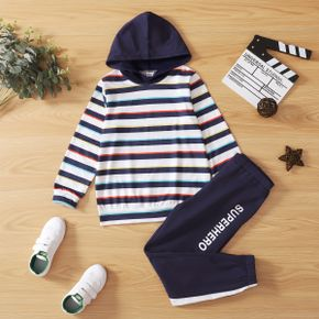 2-piece Kid Boy Striped Hoodie and Letter Print Pants Casual Set