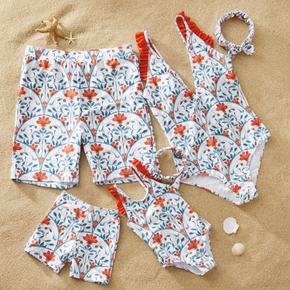 Floral Print Ruffled Swimwear and Headband for Family