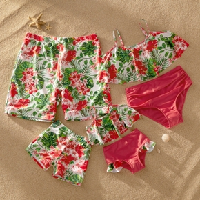 Mosaic Family Matching Floral Tankini Swimsuit Flounced Swimsuits