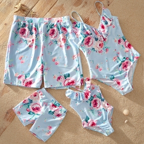 Flounce Neckline Floral Print Matching Family Swimsuits