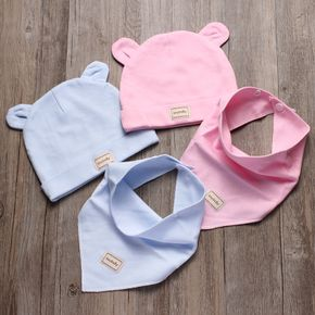 2-piece Baby Warm Solid Hat with Bib Set