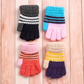 Toddler / Kid Knitted Colorblock Thermal Gloves