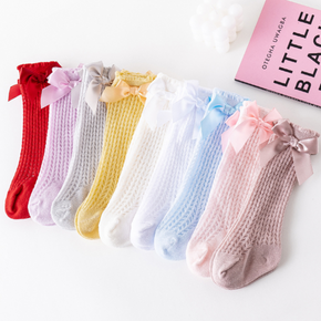 Baby Solid Bowknot Breathable Middle Socks