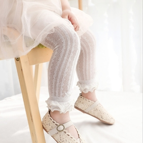 Solid Hollow Out Ruffle Decor White Baby Pants Leggings