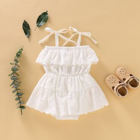 Solid Lace Decor Sleeveless Baby Romper