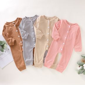 Baby Solid Cardigan Long-sleeve Jumpsuit