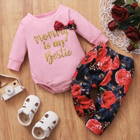 2pcs Baby Girl Sweet Floral Print Long-sleeve Cotton Baby's Sets