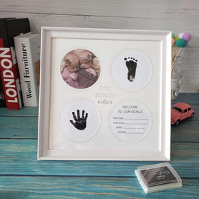 Newborn Baby Hand And Foot Print Mud Frame Baby Solid Wood Baby Souvenir Gift