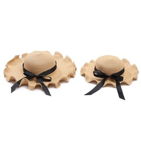 Mommy and Me Black Bowknot Beach Hats