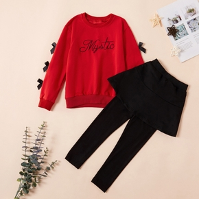 Beautiful Letter Embroidered Sweatshirt and Skirtleggings Set