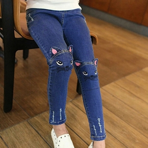 Kids Girl Cat Rabbit Tasseled Jeans