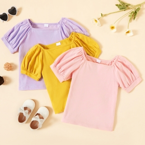 Toddler Girl Casual Solid Cotton Tee