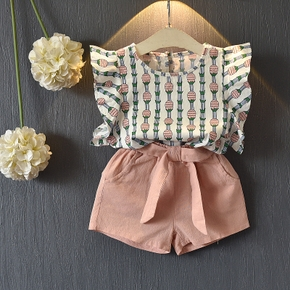 Ruffle Pineapple Blouse and Shorts Set