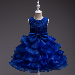 Fancy Flower Decor Bowknot Front Party Dress