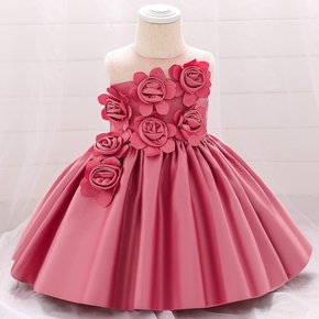 Solid 3D Floral Decor Sleeveless Baby Formal Dress