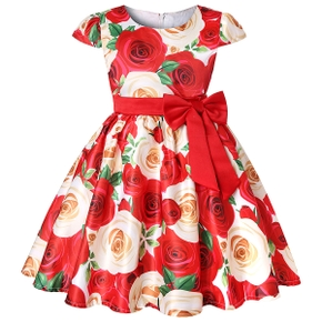 Trendy Rose Allover Print Bowknot Party Dress