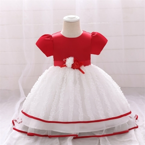 Baby / Toddler Girl Floral Mesh Red Splice Party Dress