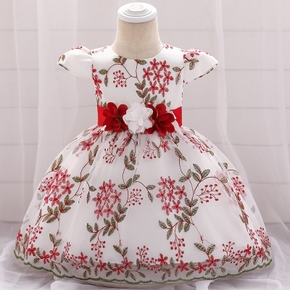 Baby / Toddler Flutter-sleeve Plant Embroidery Party Dress